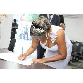 Vestido De Noiva Civil Arranjo Cabelo Colar E Brinco Casamen
