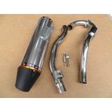 Tubo De Escape Resonador Crf230 Color Plata, Negro Y Titanio