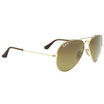 Óculos Aviador De Sol Ray Ban Dourado Lentes Marrom