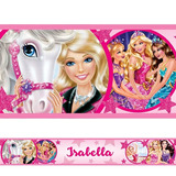 Adesivo De Parede Faixa Personalizada Barbie Princesas Rosa