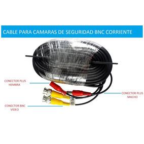 Cable Bnc Y Plug De Corriente Para Camara Seguridad 18.3 Mts