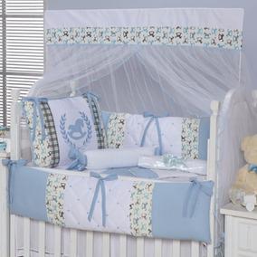 Kit Protetor Berço 9 Peças Cavalinho Azul Bebê