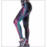 Legging Galaxy Print Moda Casual Academia Cintura Alta Média