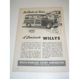 ( L - 290/ P ) Propaganda Antiga Willys Caminhonete 1950