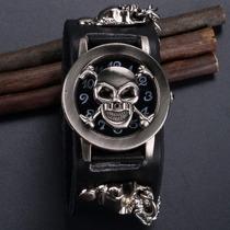 Relógio Bracelete De Couro Rock Black. Frete Grátis.