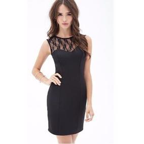 Vestido De Lycra De Algodón Con Encaje Forever 21 Original