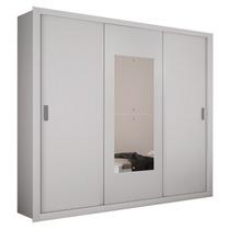 Armário 3 Portas De Correr Com Espelho Bipartido, Branco, Mu
