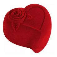 Estojo Caixinha Para Alianças Coração Veludo Vermelho