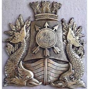 Placa Bronze Brasão Emblema Club Municipal Rio Janeiro Ñ Sp