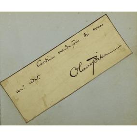 Cartão Antigo De Olavo Bilac Autografado