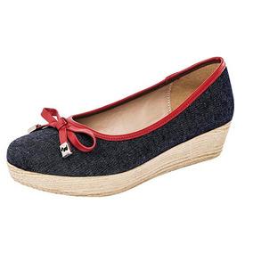 Zapato Plataforma, Dama, Lazo, Mezclilla Pak Casual U66804