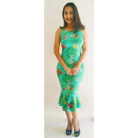 Vestido Midi Estampa Floral Costa Nua Longuete Maravilhoso