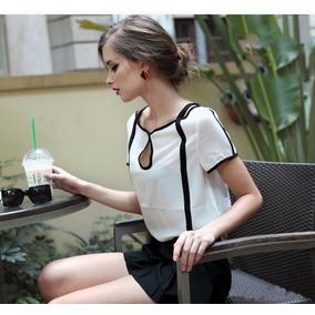 Camisa Social Manga Curto Branca Chiffon Semi-tranparente