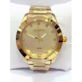 Relógio Feminino Dourado Original Marca Atlantis Strass