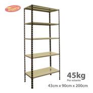 Estanteria Metalica 90x43x200 Reforzadas Tisera 45 Kg 209040