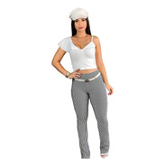 Conjunto Calça Flare Listrada E Blusa Branca