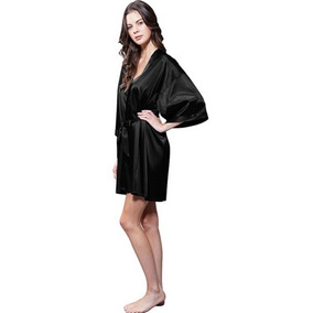 Black - Kimono De Las Mujeres Trajes Seda Satén Trajes -2567