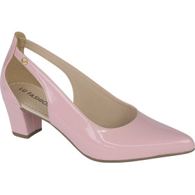 Sapato Feminino Scarpin Salto Grosso Boneca | Preto E Nude |