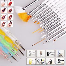 Kit X 20 - 15 Pinceles + 5 Dotting Uñas Nail Art