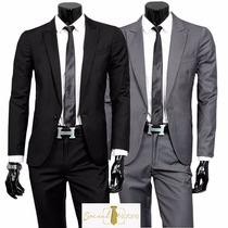 Terno Slim Masculino Oxford 2 Botoes+ Gravata Slim Fit 2016