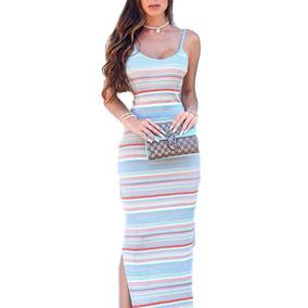 Vestido Alcinha Longo Fenda Crochet Tricor Lançamento Lindo