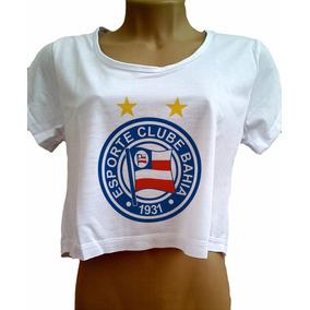 Camiseta Cropped Bahia Feminina Blusa De Manga Futebol Nova