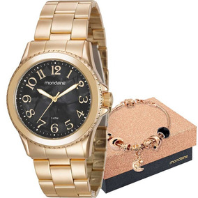 Kit Relógio Mondaine Feminino Com Pulseira 99270lpmkde1k1