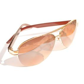 674d277bd85ce Óculos De Sol Barato Aviador Marrom Unissex Metal F72