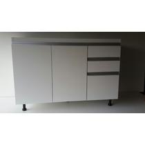 Mueble Bajo Mesada 1.20 M. Melamina Blanco Perfil Tipo Jota