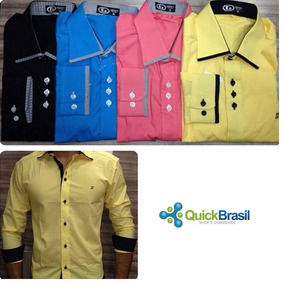 Kit 5 Camisas Social Slim Fit