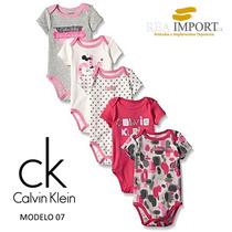 Set 5 Bodys Calvin Klein Bebe Niña Hembra De 0 A 3 Meses