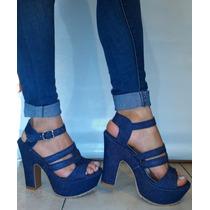 Sandalias O Calzado Damas Struphers (jean, Mostaza Y Negro)