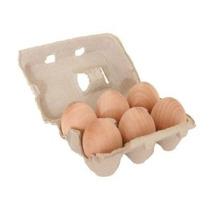 Buena Madera Huevos Seis En Un Cartón Reciclable (juego De N