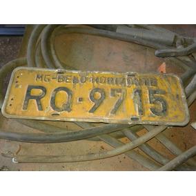 Placa De Carro Antiga Amarela Belo Horizonte Coleção Oficina
