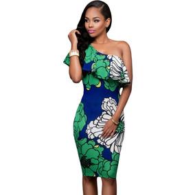 Sexy Vestido Asimetrico Estampado Flores Verde Azul 61155