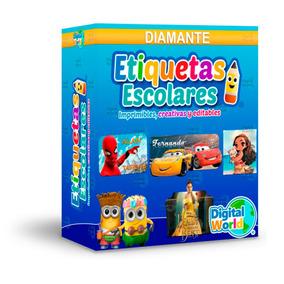 Etiquetas Escolares Kit Imprimible Diamante Editables 11 Gb