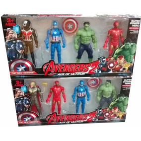 Set 4 Figuras Hulk Iron Man Capitan America Thor Advengers