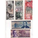 Billetes Antiguo Mexico Cinco Diez Veinte Cincuenta Y Cien