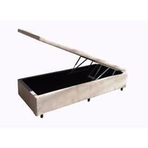 Base Cama Box Com Baú Tecido Suede Solteiro 88cm Larg