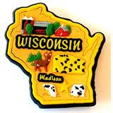 Imán Multi Del Estado De Wisconsin Pvc Color Nevera