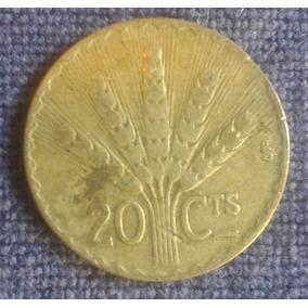 Moneda 20 Centavos 1942 Republica Oriental Del Uruguay