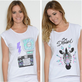 Combo X 2 Remeras Mujer (be Different + Camara Flash)