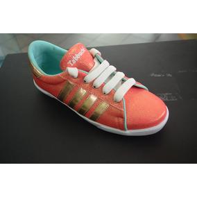 Zapato Deportivo Dama Tabbuche Mandarina Oro Tres Rallas