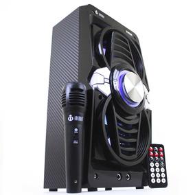 Caixa De Som Portátil Bluetooth Mp3 Usb Fm Karaokê Microfone