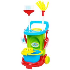 Kit Carrinho Limpeza Infantil Vassoura Esfregão Lixo Balde