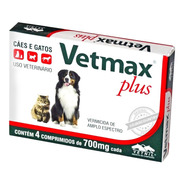 Vetmax Plus 4 Comprimidos 700mg Vetnil Vermífugo Cães Gatos