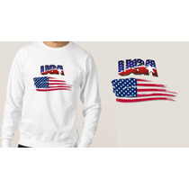 Blusa Moletom Branco Masculino Bandeira Estados Unidos Eua