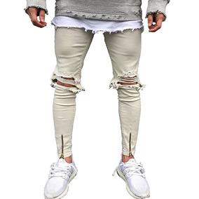 Hombres De La Moda De La Calle Hiphops Rodilla Agujero Jeans