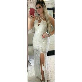 Vestido Longo Fenda Na Perna Renda Madrinha Casamento Festa