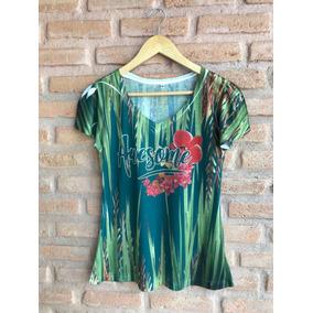 Blusa Básica Feminina Verde De Malha Estampa Exclusiva 100